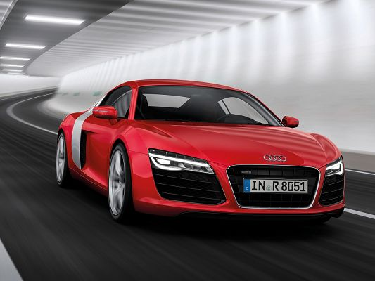 Super Cars Image of Audi R8, Red Car Turning a Corner, Never Compromise on Speed