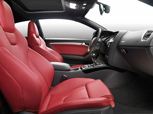 click to free download the wallpaper--Super Cars Picture, Audi S5 Coupe Car Interior, Red Seats, Feeling Good