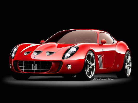 click to free download the wallpaper--Super Cars Picture, Red Ferrari Sport Car, Bright and Glowing Body