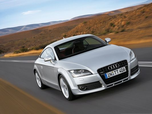 click to free download the wallpaper--Super Cars Picture, Silver Audi TT on Flat Black Road, Nice Look