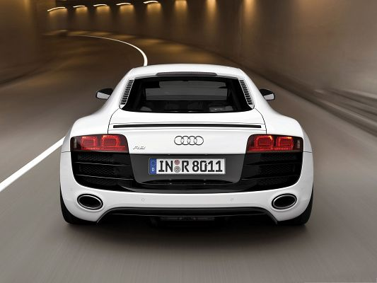 click to free download the wallpaper--Super Cars Picture, White Audi R8 Car in Cave, Mere Lights