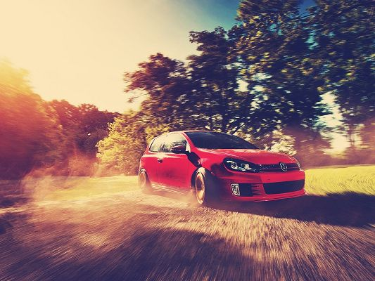 click to free download the wallpaper--Super Cars Poster, Red Golf GTI Drift, Natural Scenery Around