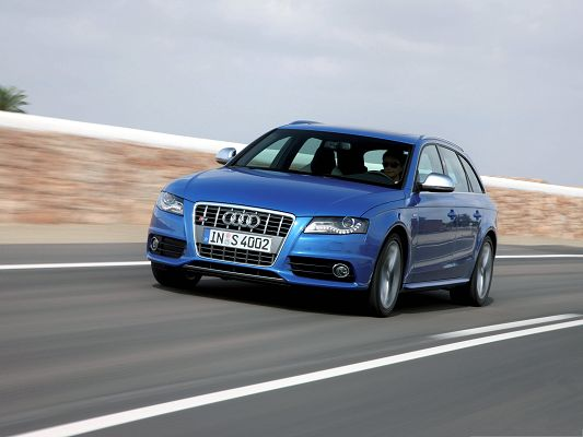 Super Cars as Background, Blue Audi S4 Avant Car in Pretty Full Speed, Amazing Look