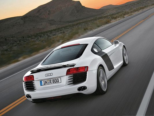 click to free download the wallpaper--Super Cars as Background, White Audi Car on Flat Straight Road, Nice in Look