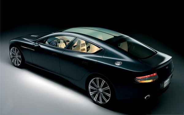 click to free download the wallpaper--Super Cars as Wallpaper, Black Aston Martin Car with Glowing Effect, Nice Look