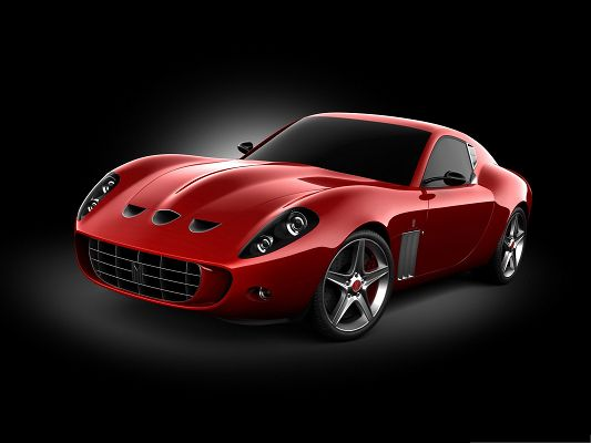 Super Cars for Desktop, Red Ferrari Sport Car on Black Background, Glowing Body