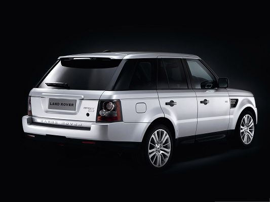 click to free download the wallpaper--Super Cars for Desktop, White Range Rover Car on Black Background