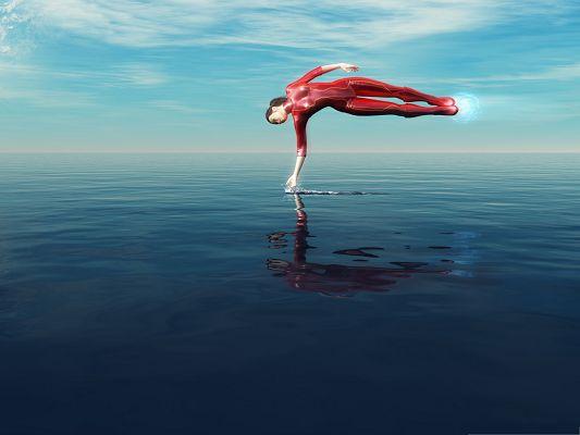 click to free download the wallpaper--Super Girl Image, Powerful Girl in Red Suit, Fly Over the Sea