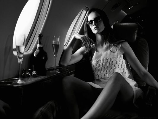 Supermodel Wallpaper, Sexy Model in Airplane, Want a Drink with Her?
