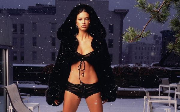 click to free download the wallpaper--Supermodels Wallpaper, Adriana Lima in Black Bikini, Flying Snow Around