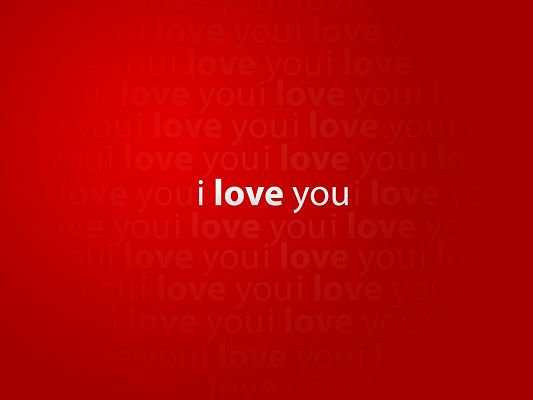 click to free download the wallpaper--Sweet Love Image, I Love You on Red Background, Love is Overstriken