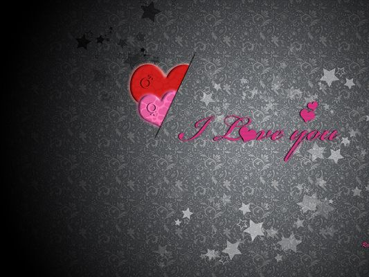 click to free download the wallpaper--Sweet Love Poster, I Love You in Pink, Gray and Stars Background, Incredible Look