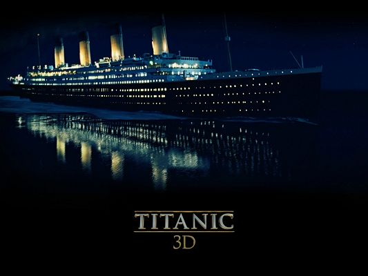 click to free download the wallpaper--TV & Movie Posters, Titanic 3D, the Unsinkable Ship on the Peaceful Sea