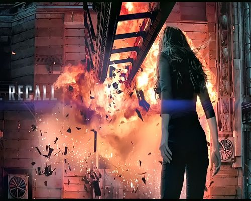 click to free download the wallpaper--TV & Movie Posters, Total Recall, an Explosion Breaking Out, Never Step Back