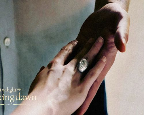 click to free download the wallpaper--TV & Movie Posts, Breaking Dawn Part 2, Bella is in Ring, Hand in Hand, a Happy Couple