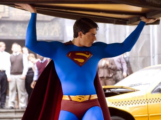 click to free download the wallpaper--TV & Movies Poster, Superman Lifting a Car, He is Muscular and Handsome, Cheer for Him!