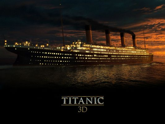 TV & Movies Poster, Titanic 3D, the Decent Ship, Lights All Turned on, Miraculous Scene