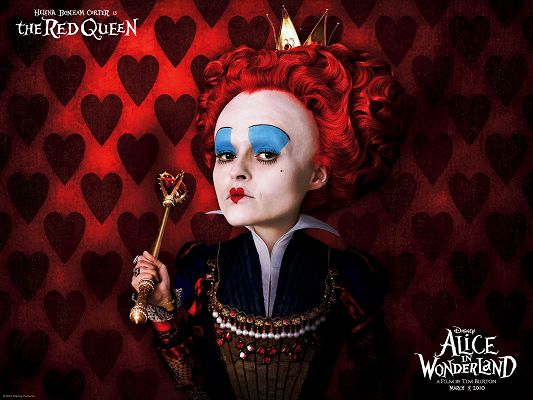 click to free download the wallpaper--TV & Movies Posters, the Red Queen from Alice in Wonderland, Funny Facial Expression