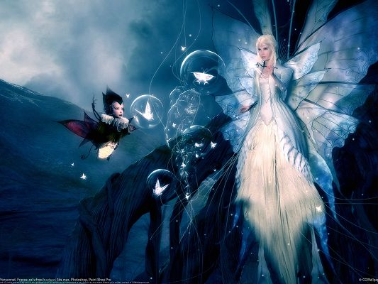TV Shows Pic, Fantasy Girl in White Dress, She is a Beautiful Butterfly, a Faire