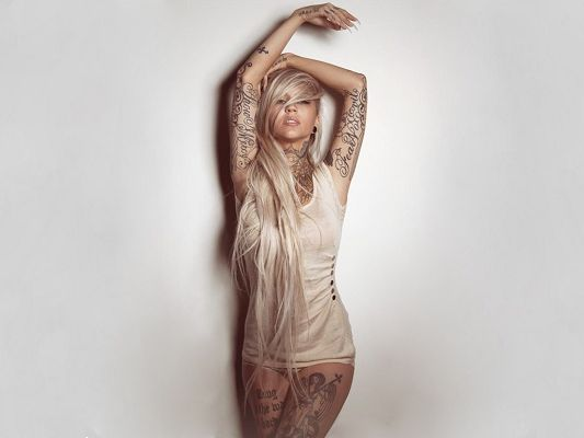 TV Shows Poster, Beautiful Blonde Sarah Fabel, Tattooes All Over the Body, Wild Beauty