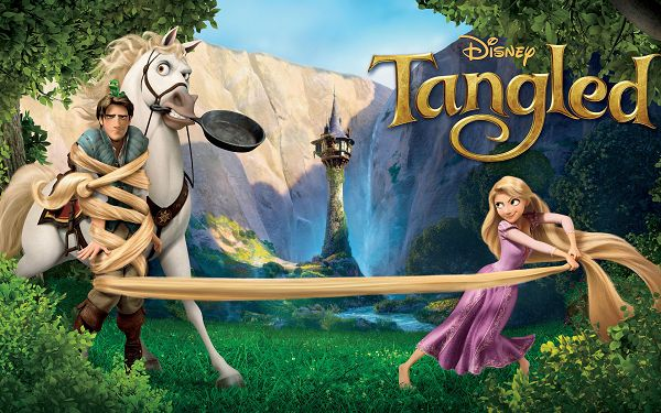Tangled Movie Post in 2560x1600 Pixel, Cute and Naughty Princess, the White Horse is Not So Happy - TV & Movies Wallpaper