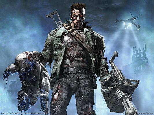 click to free download the wallpaper--Terminator HD Post in Pixel of 1600x1200, Man's Clothes Are Falling into Pieces, Two Other Robots Are Lifted, He is Great in the Look - TV & Movies Post
