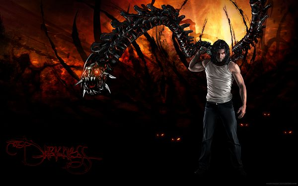 click to free download the wallpaper--The Darkness II 2012 Game Post in Pixel of 1920x1200, Man in Simple Dress, Yet is Strong Enough to Fight against a Dragon, Unbelieveable! - TV & Movies Post