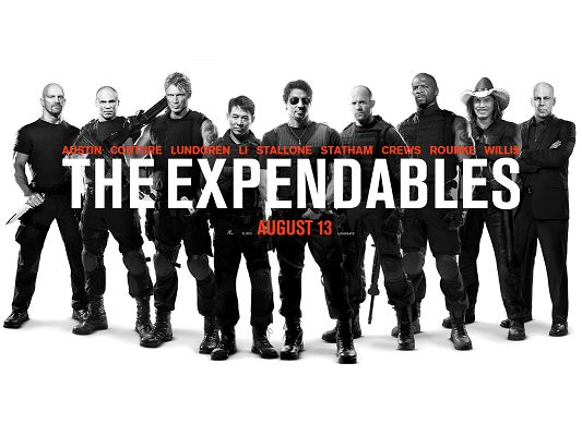 click to free download the wallpaper--The Expendables 2010 Post in 1600x1200 Pixel, Numerous Cool Guys in Black Suit, They Must be Hard to Beat, a Great Fit - TV & Movies Post