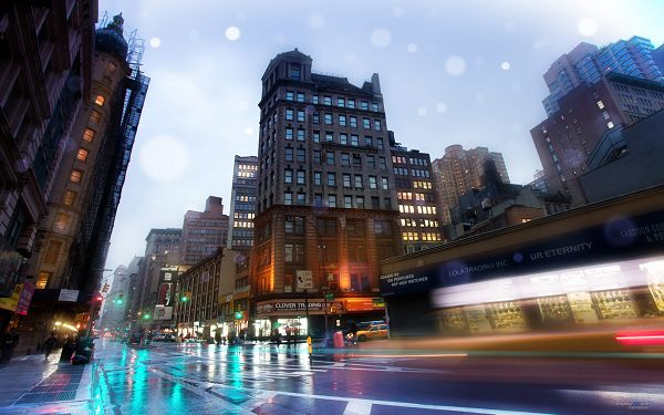 click to free download the wallpaper--The Scene of NY Broadway Street, Clean and Reflective Roads, Things Are All Colorful and Attractive - HD Natural Scenery Wallpaper