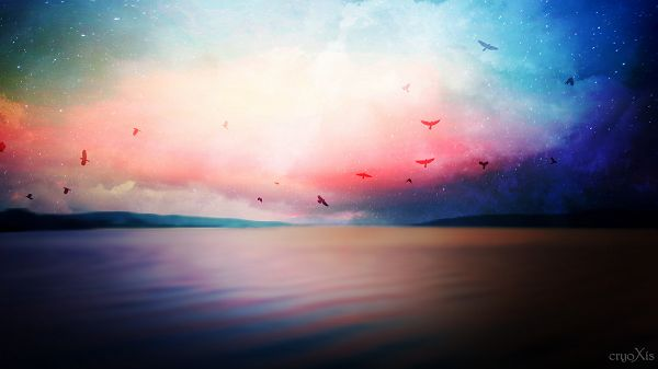 click to free download the wallpaper--The Sea in Peaceful and Slow Flow, the Sky is Colorful and Beautiful, Birds Are Flying to Sing and Praise for This - HD Natural Scenery Wallpaper
