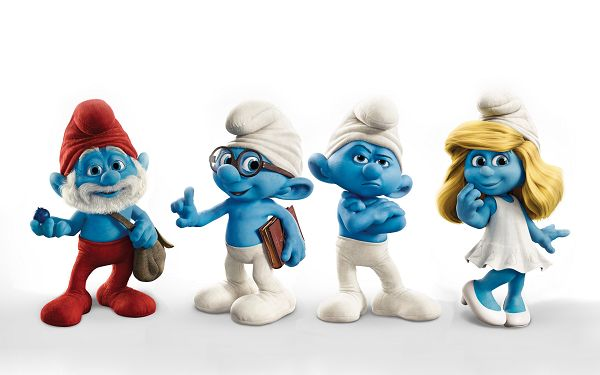 click to free download the wallpaper--The Smurfs 2011 Movie Post in 2560x1600 Pixel, the 4 Guys Are All Cute and Innocent, the Best Playmate in Childhood - TV & Movies Post