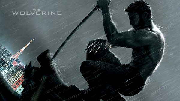 The Wolverine in 1920x1080 Pixel, a Falling Heavy Rain, the Man is Half Naked, What a Tough Guy, Learn From Him - TV & Movies Wallpaper