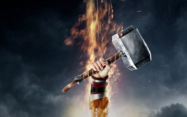 Thor 2 The Dark World in 1920x1200 Pixel, a Hammer on Fire? What is It Hitting? It is a Great Fit - TV & Movies Wallpaper