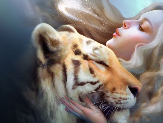 click to free download the wallpaper--Tiger and Girl, Close to Each Other, Beautiful Girl Can Comfort