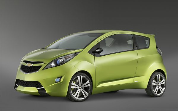 click to free download the wallpaper--Tiny Cars Picture, Green Chevrolet Car on Gray Background, Nice Look
