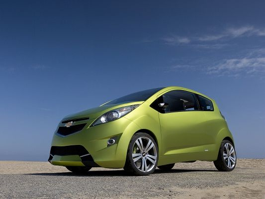 click to free download the wallpaper--Tiny Cars as Wallpaper, Green Chevrolet Car Under the Blue Sky