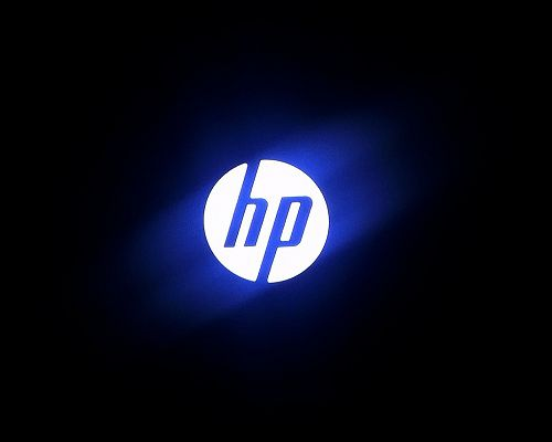 click to free download the wallpaper--Top Brandy Post, HP Logo Generating Blue Light, Black Background