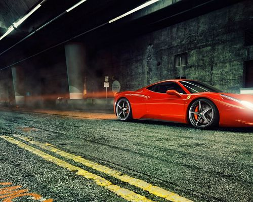click to free download the wallpaper--Top Car Brands, Red Ferrari 458 Italia in Tunnel, Never Fail to Attract Attention
