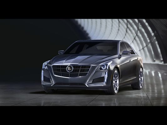 click to free download the wallpaper--Top Car Pics of Cadillac CTS, Seen from Front Angle, It Shall Strike Quite an Impression