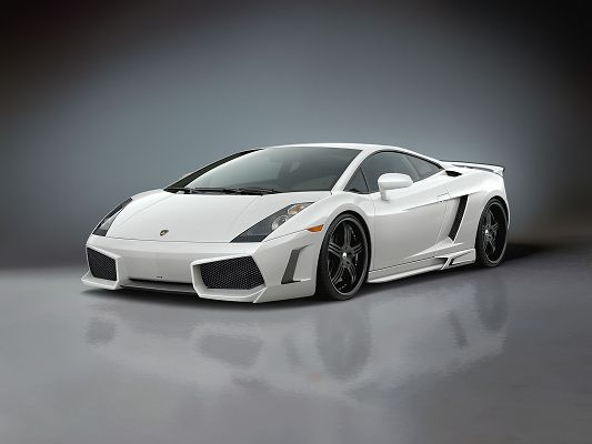Top Car Poster, Lamborghini Gallardo in Its Side Angle, Gray Background, Great Look