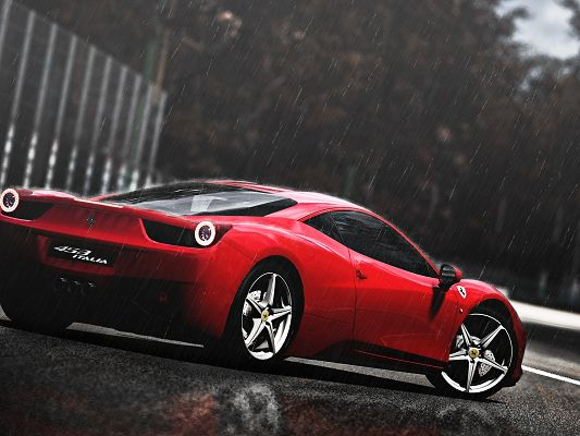 click to free download the wallpaper--Top Cars Image, Ferrari 458 in the Rain, Nothing Shall Affect Its Decency and Look