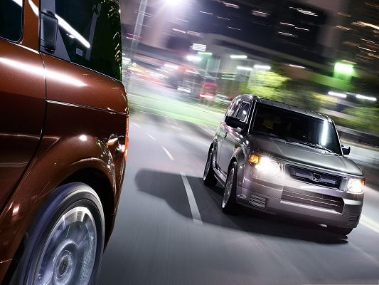 Top Cars Image, Gray Honda Element Car, White and Shinning Lights