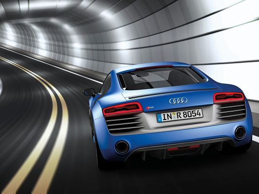 click to free download the wallpaper--Top Cars Pics of Audi R8, a Blue and Fast Car in Tunnel, Speed is Never at Loss