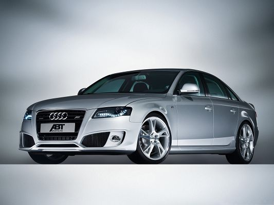 click to free download the wallpaper--Top Cars Picture, Audi AS4 Sedan Car on White Background, Great Look