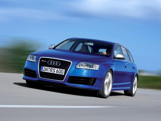 click to free download the wallpaper--Top Cars Picture, Blue Audi RS6 Avant Car 4 in Fast Speed, Amazing Look