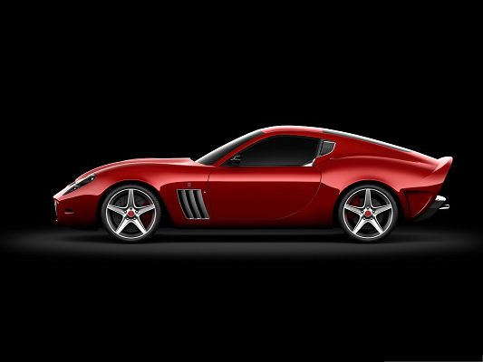 click to free download the wallpaper--Top Cars Picture, Red Ferrari Sport Car with Glowing Body, Black Background