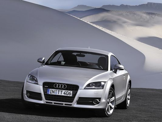 click to free download the wallpaper--Top Cars Picture, Silver Audi TT in White Desert, Amazing Look