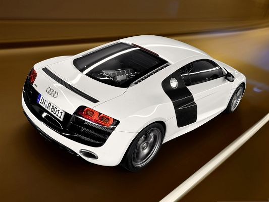 click to free download the wallpaper--Top Cars Picture as Background, White Audi R8 Car on Flat Road, Incredible Look