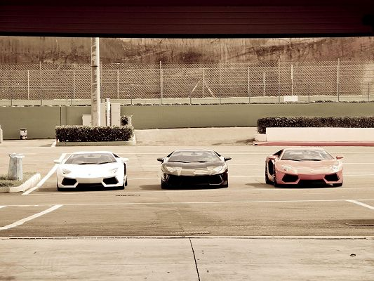 click to free download the wallpaper--Top Cars Poster, 3 Lamborghini Trio Standing in One Line, Who Will Win the Race?