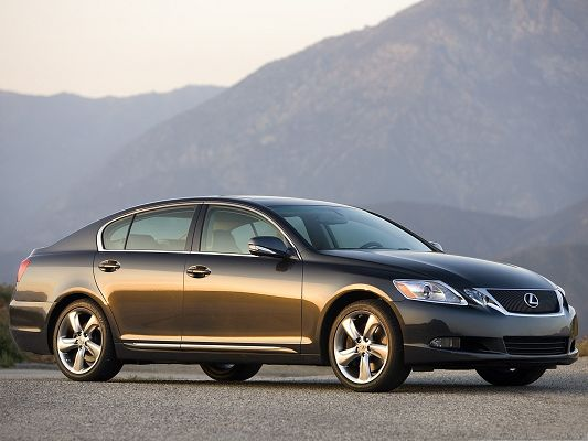 click to free download the wallpaper--Top Cars as Background, Lexus GS 350 Car Among Great Nature Landscape, Nice Look